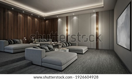 Sofa bed in modern home theater room, 3D render