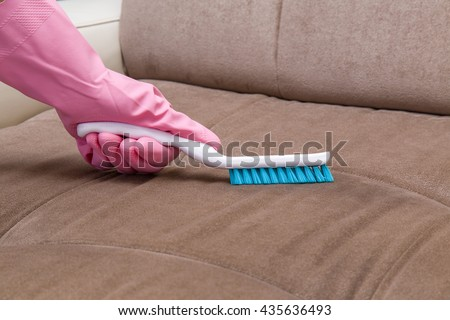 Sofa Chemical Cleaning With Professionally Brush. Upholstered Furniture  Cleaning. Early Spring Cleaning Or Regular