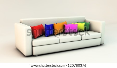 Sofa 3d white with cushions of many colors