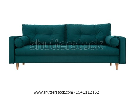 Sofa for an interior in Scandinavian style with pillows on white background