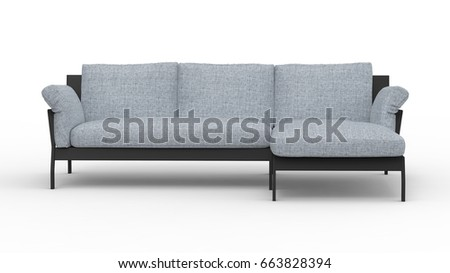 Sofa front view. 3D Rendering icon for interior floorplans. Concept model. #663828394