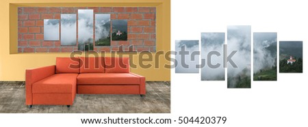sofa furniture and photo collage on brick wall. Hi resolution photo complementary with clipping path