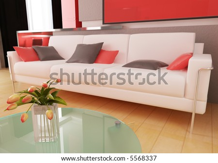 Sofa in a drawing room 3d rendering
