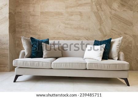 Sofa in hotel lobby