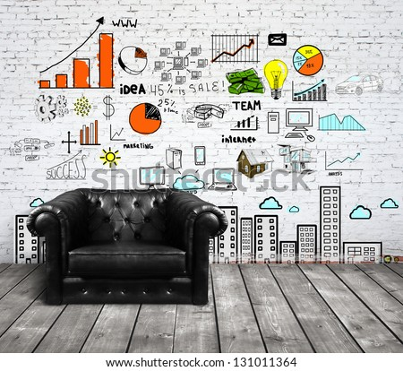 sofa in loft with drawing concept on brick wall - stock photo