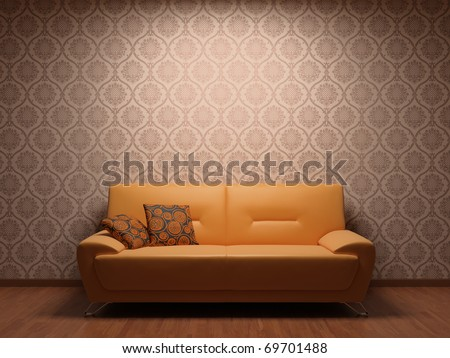 Sofa in rest room whit illuminated fabric wallpaper