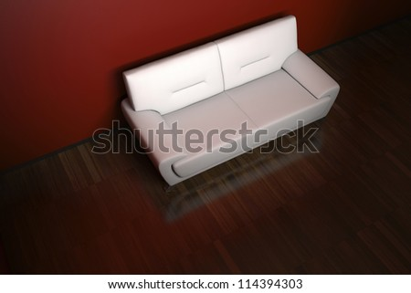 Sofa in the Red Room with parquet floor