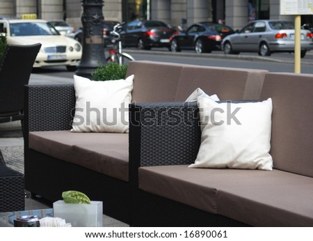 Sofa in the street for some relaxing