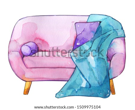 Sofa interior style soft chic pink bedspread pillow watercolor illustration isolated