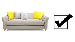 Sofa Isolated on White. Two Seater Couch with Two Accent Scatter Pillows Yellow Large Bolster Cushions. Mid Back Sofa. Front View Upholstered Silver Gray Linen Loveseat with Armrests and Seat Cushion