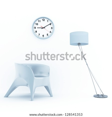 sofa lamp and clock in home interior