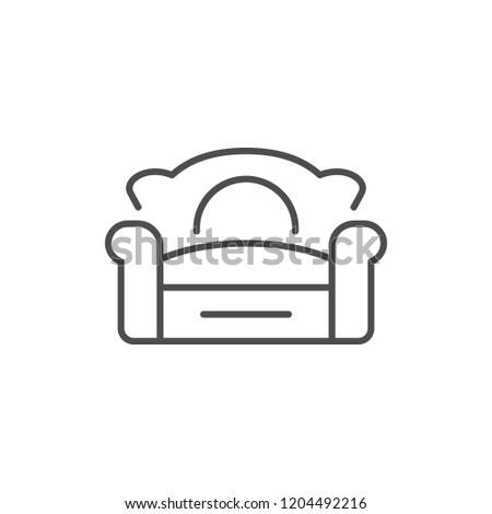 Sofa line icon isolated on white