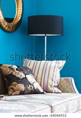 Sofa with pillows in an interior
