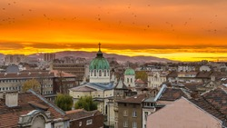 Sofia Bulgaria Beautiful sunset over Temple St. St. Cyril and Methodius against the backdrop of Vitosha Mountain
