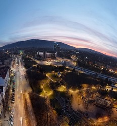 Sofia Bulgaria February 2021 Panoramic photo at the building of the National Palace of Culture