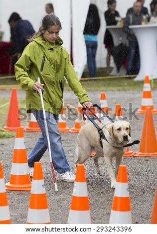 Sofia, Bulgaria - June 18, 2015: A blind person is led by her golden retriever guide dog during the last training for the dog. The dogs are undergoing various trainings.