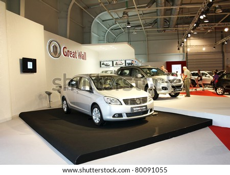 SOFIA, BULGARIA - JUNE 19: Chinese car manufacturer Great Wall with models Voleex C30 and Hover H6 on display at the 2011 Sofia International Motor Show on June 19, 2011 in Sofia, Bulgaria