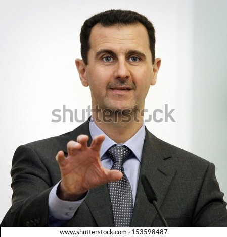 SOFIA BULGARIA NOVEMBER 9 Syrian President Bashar al-Assad speaks at a news-conference in Bulgaria's Presidents office during his one-day official visit in Sofia Bulgaria on November 9 2010