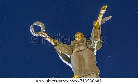 Sofia Bulgaria The statue of St. Sofia against the background of the night sky with stars. Sofia. Bulgaria Stock foto ©