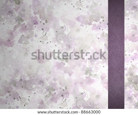 soft abstract pastel purple and pink watercolor background with purple ribbon with scratch parchment texture on border