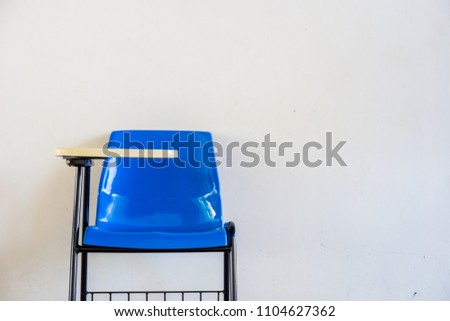 soft and blur focus front view abstract background lecture chairs in examination room or classroom in school,university with out undergraduate students inside.education concept