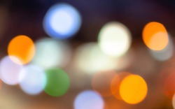 soft and blurry bokeh light background, orange white blue and green light with blur wallpaper