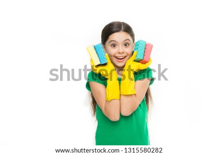Soft and colorful. Small housekeeper holding dish sponges in rubber gloves. Adorable kitchen maid. Little housemaid ready for household help. Household duties. Cleaning and washing up. #1315580282