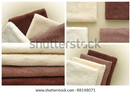 Soft and fluffy cotton hotel quality bath towels in light beige to dark brown fashion colors over soft leather surface montage collection