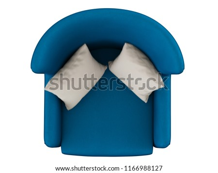 Soft blue chair with two pillows top view on white background 3d rendering