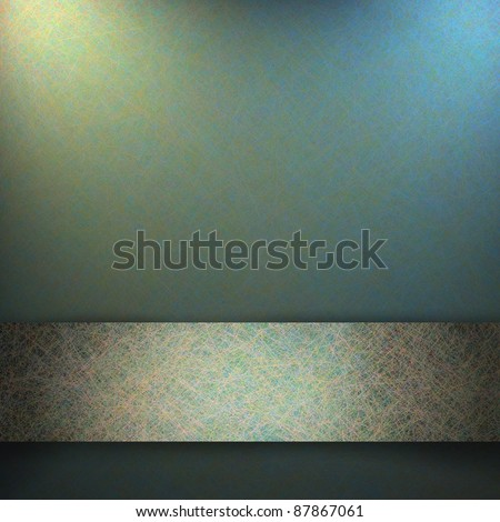 soft blue gray background with fine scratch grunge texture with parchment paper design, light silver gold ribbon stripe layout on border with copy space for text, ad, sign, or brochure