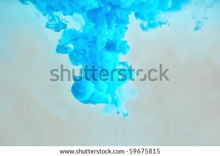 Soft blue ink pattern underwater