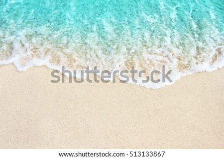 Soft blue ocean wave on sandy beach. Background. #513133867