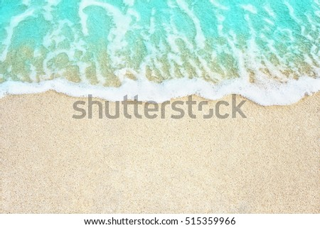 Soft blue ocean wave on sandy beach. Background. #515359966