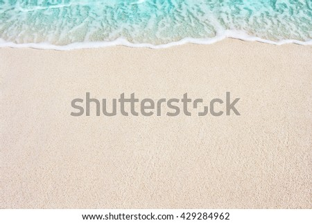 Soft Blue Ocean Wave On Sandy Beach. Background. Selective focus. #429284962