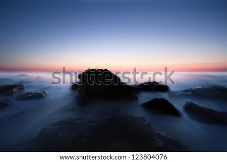 soft blue seascape with rocks in bulgarian Black sea