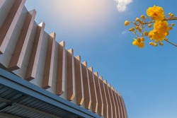 Soft blurred and soft focus structure, building, with Cochlospermum regium flower,Yellow cotton tree flower, the beautiful sky and cloud background.By the beam light and lens flare effect tone.