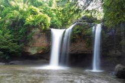 soft-blurred waterfall at Haew Suwat Waterfall Khao Yai