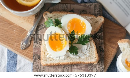 Soft Boiled Eggs for Breakfast with toast.