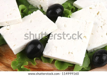 soft cheese on wooden plate with salad