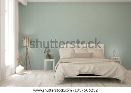Soft color bedroom interior. Scandinavian design. 3D illustration Foto d'archivio ©