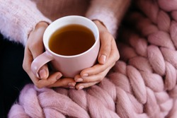 Soft cozy photo of woman in warm pink sweater holding cup of hot tea. Giant, large warm merino wool plaid blanket. Fall or winter time concept. The girl in a soft knitted sweater drinking tea