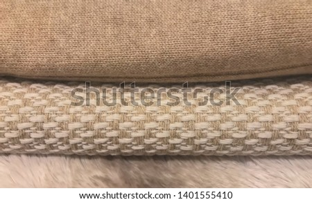 Soft fabrics cotton, alpaca and mohair wool photographed as a texture