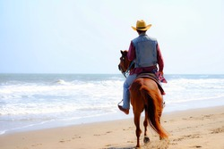 Soft focus and back view at jockey riding horse on the beach. Copy space cowboy ride brown horse and background with clear sky and blue sea. concept relax time and travel. holiday and summer season.