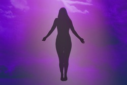 Soft focus. Ascension of the soul. The ghost of a woman ascends to heaven. Immortality, meditation, afterlife concept