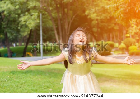 Soft focus Beautiful little girl in a dress posing on the grass.in sunlight / Asian girl standing in the park #514377244