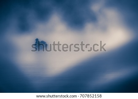 soft focus blurred feeling blue lonely emotion abstract conceptual, person on boat with white mist, low key grungy style image  #707852158