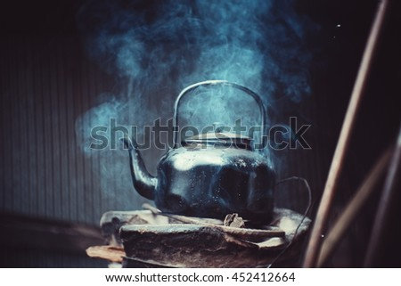 soft focus  boiling water from...