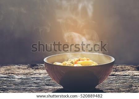 soft focus.bowl of hot food...