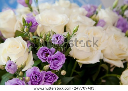 Soft-focus close-up of fresh flowers, roses, beautiful romantic bouquet for Valentine\'s Day. Holidays and celebrations