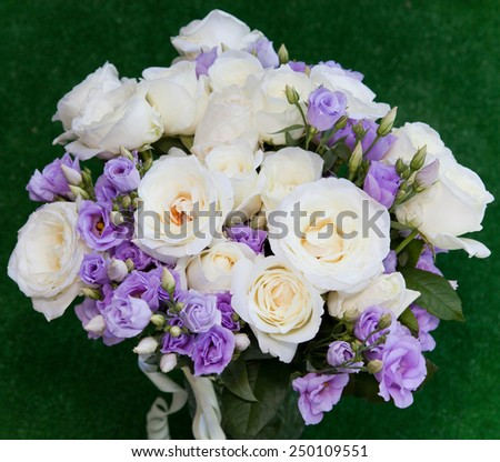 Soft-focus close-up of fresh flowers, roses, beautiful romantic bouquet for Valentine's Day. Holidays and celebrations